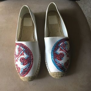 PRE-OWNED AUTHENTIC TORY BURCH ESPADRILLE FLATS